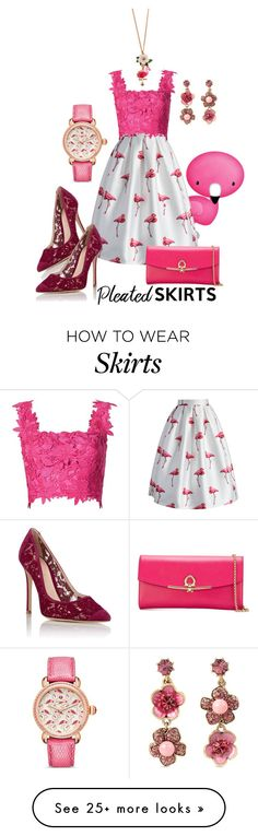 """""""Pretty in flamingo pleated skirt"""" by wickedangel on Polyvore featuring Chicwish, Monique Lhuillier, Gianvito Rossi, Salvatore Ferragamo, Michele, Accessorize, Betsey Johnson and pleatedskirts"""