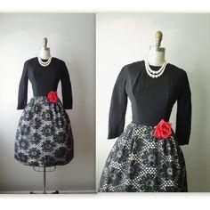 50's Cocktail Dress // Vintage 1950's Black by TheVintageStudio, $72.00