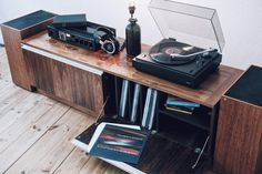 """Audio Design – OboMusicLove vintage-audio: """" Playing Motion by The Cinematic Orchestra on Sonab setup with 85 S record player, R 4000 receiver and loudspeakers. The sibeboard is for sale… Turntable Setup, Audiophile Turntable, Acoustic Design, Audio Design, Vinyl Storage, Record Storage, Lp Storage, Vinyl Record Cabinet, Vinyl Record Collection"""