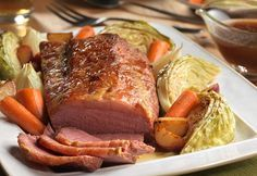 This unique and delicious corned beef & cabbage is oven braised instead of boiled for wonderful texture and color, and the twist of using brown sugar and Dijon mustard adds terrific flavor. It only takes 15 minutes of prep, then pop it in the oven and let it roast with onions, potatoes, carrots and cabbage for a wonderful and comforting homemade meal!