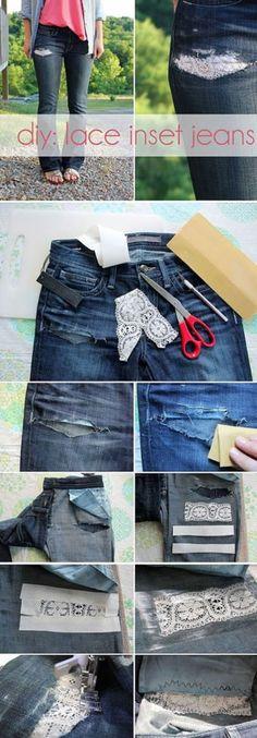 Дырявые джинсы + кружево