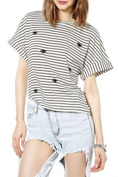 Embroidered Eyes Striped Round Neck Top with Short Sleeve