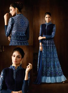 Blue Georgette Long Anarkali Suit 80018