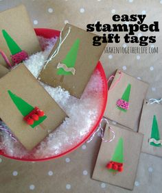 Easy stamped holiday gift tags {no stamps required!} at shakentogetherlife.com