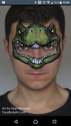 T-Rex Gace Painting Design by Olga Murasev Dinosaur Spider Face Painting, Dinosaur Face Painting, Monster Face Painting, Dragon Face Painting, Mask Face Paint, Face Painting For Boys, Belly Painting, Face Painting Designs, Animal Face Paintings