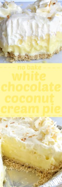 White chocolate coconut cream pie is a no-bake dessert that's made in an easy store-bought shortbread crust. Filled with white chocolate two ways and a creamy coconut pudding filling. Top with toasted coconut and white chocolate curls for a delicious and