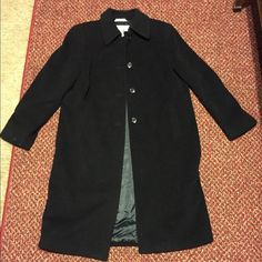 Long black dress coat. Size 12 long black dress coat. Could use a little cleaning (small spots). Marvin Richards Jackets & Coats