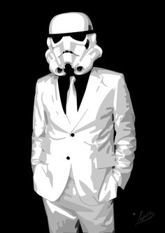 This is the kind of thing I want for another tattoo. Either a stormtrooper in a suit or Darth Vader in a suit.