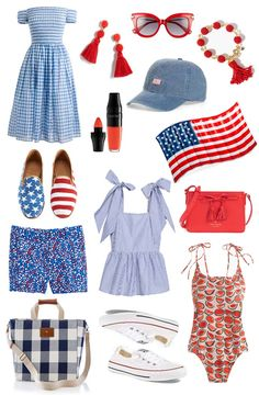 Red, White & Blue: Outfit inspiration for the Fourth of July  with off the shoulder dresses, gingham, tassels and other patriotic pieces!