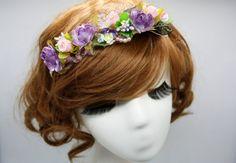 flower headband hair jewellery accessory purple handmade by missvirgouk