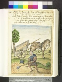 1554, man with cart and shovel  Die Hausbücher der Nürnberger Zwölfbrüderstiftungen