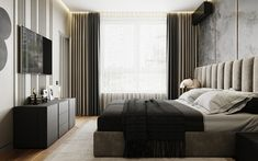Bedroom 50 shades of gray on Behance Modern Luxury Bedroom, Luxurious Bedrooms, Modern Interior, Apartment Bedroom Decor, Apartment Interior, Modern Bedroom Design, Master Bedroom Design, Study Interior Design, Minimalist Apartment