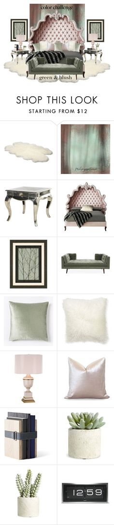 """Color Challenge: Green and Blush"" by neicy-i ❤ liked on Polyvore featuring interior, interiors, interior design, home, home decor, interior decorating, UGG Australia, Haute House, Home Decorators Collection and Williams-Sonoma"