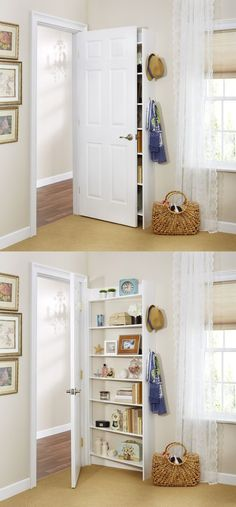 A cleverly thin shelf makes use of that pesky dead space behind doors.