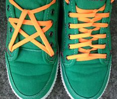 Green sneakers with white trim and fluoro orange combination of Pentagram Lacing and Loop Back Lacing (from TomG)