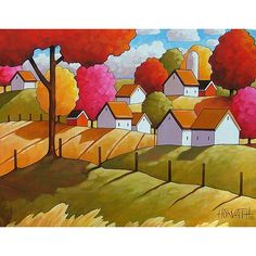 "Fine Art Print by Cathy Horvath 8.5""x11"" Modern Folk Fall Country Field Tree Color Farm Cottage Giclee Autumn Landscape Reproduction Artwork"