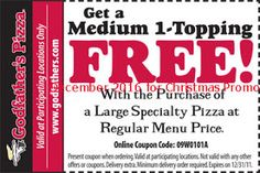 Godfathers Pizza coupons december 2016