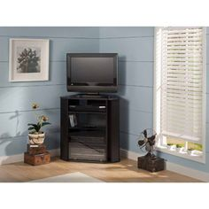 """Bush Furniture Visions Tall TV Stand, for TVs up to 37"""", Black"""