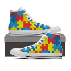 Show your support for individuals with Autism with these custom printed shoes featuring the iconic puzzle piece symbol. - Full canvas double sided print with rounded toe construction. - Lace-up closur