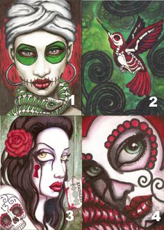 Sugar Skull Ladies - Red and Green by ShayneoftheDead