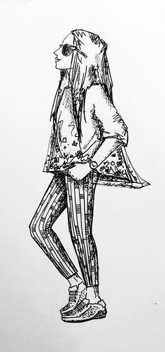 Dessin - Illustration - Sketch - Basket et nez au vent