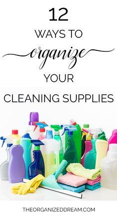 Part of cleaning is being organized. Uses these 12 inspiring ways to organize your cleaning supplies in almost any place you store them. Homemade Cleaning Supplies, Best Cleaning Products, Household Cleaning Tips, Cleaning Hacks, Organize Cleaning Supplies, Cleaners Homemade, Diy Cleaners, Spring Cleaning Checklist, Cleaning Chemicals