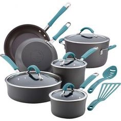 Rachael Ray 12-Piece Cucina Cookware Set in Agave Blue $170 @ JNM