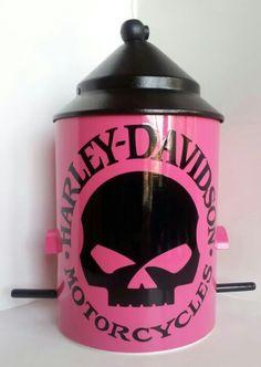 Custom Pink Harley Davidson Birdfeeder, oh I need this today, I love feeding birds, especially in style;)