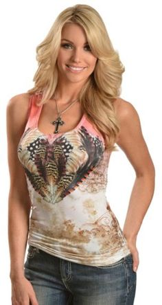 Panhandle Slim Rhinestone Feather & Scroll Lace Back Tank Top available at #Sheplers