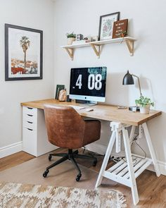 Office Space Design, Office Interior Design, Office Spaces, Loft Interiors, Office Interiors, Dream Desk, Ikea Shelves, White Office, Room Decor