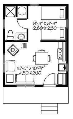 Planta baixa de uma casa bem pequena de 1 quarto com apenas 25 m2 de área construída.
