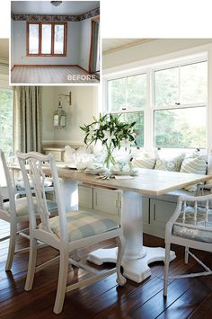 Like this kitchen pedestal table, like the table top with rustic boards, like faux bamboo chair