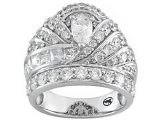 "Remy Rotenier For Bella Luce (R) 4.00ctw Rhodium Plated Sterling Silver ""the Regal"" Ring"