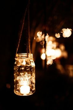 A simpler mason jar idea. Just add rope and a tea light. Easy, beautiful and completely rustic.