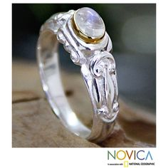 @Overstock.com - Gold Accent 'Swirls and Twirls' Moonstone Solitaire Ring (Indonesia) - Moonstone accent ringSterling silver jewelryClick here for ring sizing guide  http://www.overstock.com/Worldstock-Fair-Trade/Gold-Accent-Swirls-and-Twirls-Moonstone-Solitaire-Ring-Indonesia/7856936/product.html?CID=214117 $38.69