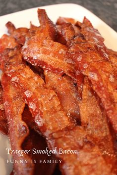 Traeger Smoked Bacon tastes amazing and couldn't be easier! If you have a pellet grill, you have to try this easy pellet smoker bacon recipe! Traeger Recipes, Bacon Recipes, Grilling Recipes, Crockpot Recipes, Bacon Jerky, Bacon Funny, Pellet Grill Recipes, Smoking Recipes, Smoker Cooking