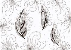 Le Creazioni di Kiara: crazy for DOODLING #39 ... FEATHERS ... piume piumette e piumaggi!