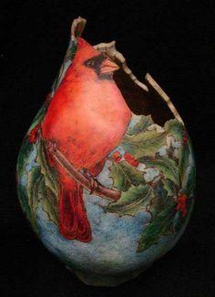 Gourd art - Cardinals