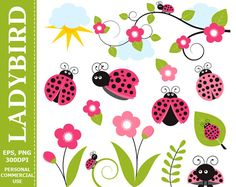 More #Ladybird #Clipart can be found here: http://etsy.me/2o3QYpJ  Digital #Pink Ladybird Clip Art - Leaves, Branch, Flowers, Ladybird, Sun Clip Art. Commercial and Personal u... #thecreativemill #clipart #digital #ladybird #flower #branch #scrapbook #pink