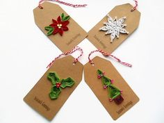 Christmas gift tags Christmas tags gift tags quilled by KaisCards