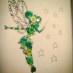 Handmade Tinkerbell  Disney  Swarovski crystal / button frame.  Easy order, see board description.