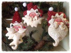 encantadoras caritas de noel para el árbol navideño!
