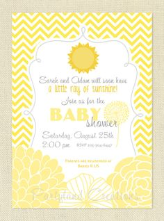 Little Sunshine Baby Shower Printable Invitation DIY - Yellow Chevron and Stripes, Invite, Personalized. $12.00, via Etsy.