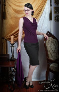 Purple and Black Office Goth Outfit from sophistiquenoir.com