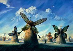 Ook dit schilderij kwam ik tegen toen ik voor mijn kunstbeeldend op zoek was naar goede voorbeelden van surrealisme. Ik vond het meteen een heel mooi schilderij, omdat de vlinders allemaal mooie kleuren hebben, en in verschillende posities staan. Ook dit schilderij hoort duidelijk bij het surrealisme. De manier waarop windmolens worden gebruikt als een soort 'houders' van de vlinders vind ik ook erg mooi. Ik zou dit schilderij zo kopen.