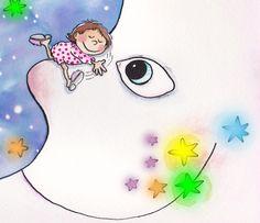 nena i lluna  Ilustración de Rosa María Curtò