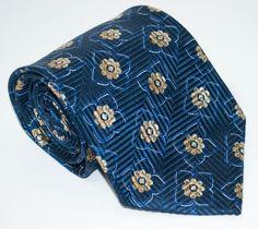 Ermenegildo Zegna Z Long Tie Necktie Recent Zigzag Petals Italy Silk Petals NWOT #ErmenegildoZegna #NeckTie