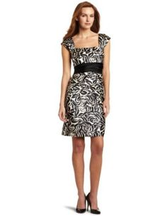 Jones New York Women's Printed Stretch Satin Shutter Dress