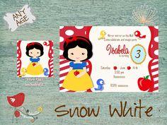Snow White Invitation, Princess Snow White, Party Invitation, Princess Party, Princess Birthday, Invite, Free Tag de DetallesImpresosCo en Etsy