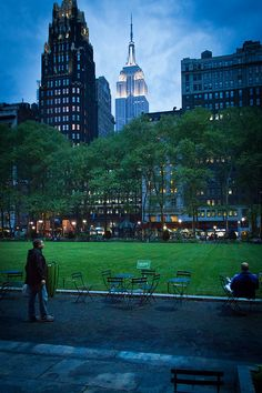 Bryant Park Nights, NYC - one of the best meals we had in NYC was at the Bryant Park Cafe
